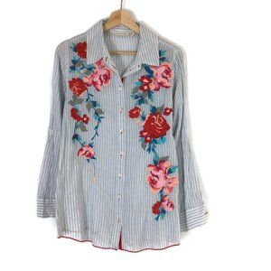 Soft Surroundings Embroidered Button Up Floral
